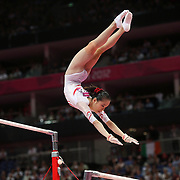 Jinnan Yao, China, in action during the Gymnastics Artistic, Women's Apparatus, Uneven Bars Final at the London 2012 Olympic games. London, UK. 6th August 2012. Photo Tim Clayton