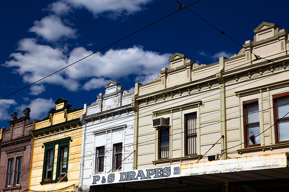 House and shops on Hight Street, Northcote, Melbourne, Victoria, Australia