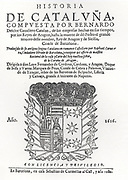Title page of 'Historia de Catalanya', Barcelona 1616, by Bernardo Desclot, Catalan chronicler.