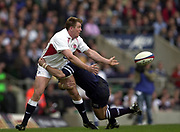 Twickenham, Surrey, 22nd March 2003,  RFU Twickenham Stadium, England, [Mandatory Credit; Peter Spurrier/Intersport Images]<br /> <br /> RBS Six Nations Rugby England v Scotland<br /> Mike Tindall pass's the ball inside.