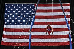 March 2, 2019 - Greensboro, North Carolina, US - SAM MIKULAK competes on still rings at the Greensboro Coliseum in Greensboro, North Carolina. (Credit Image: © Amy Sanderson/ZUMA Wire)