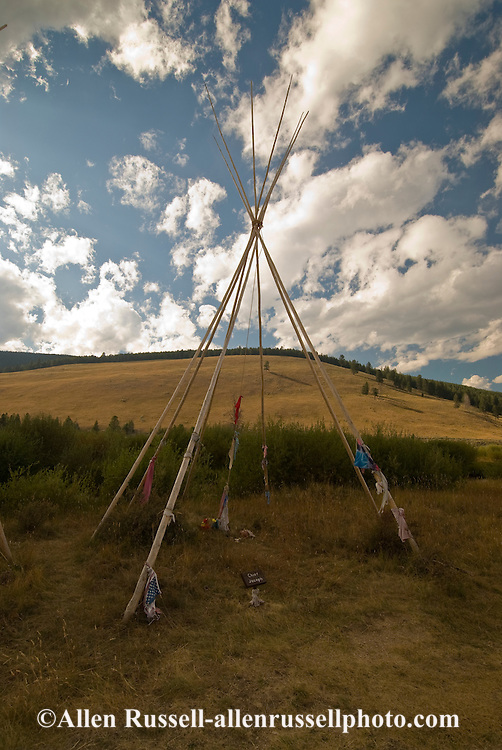 Big Hole National Battlefield, Southwest Montana, Colonel John Gibbon led US Seventh Infantry in attacked on Nez Perce, Chief Joseph in 1877, Chief Josephs teepee site