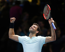 November 13, 2017 - London, England, United Kingdom - Grigor Dimitrov of Bulgaria beats Dominic Thiem of Austia .during Day Two of the Nitto ATP World Tour  Finals played at The O2 Arena, London on November 13 2017  (Credit Image: © Kieran Galvin/NurPhoto via ZUMA Press)