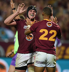 Cape Town-180416  University of Stellenbosch player player Munier Hartzebnerg celebrates his try against UNW in a Varsity Cup final played at Dani Craven stadium in Sellenbosch .photographer:Phando Jikelo/African News Agency/ANA