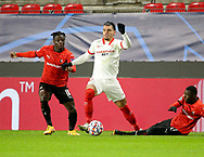 Jeremy Doku of Stade Rennais, Karim Rekik of Sevilla FC, Hamari Traore of Stade Rennais during the UEFA Champions League, Group E football match between Stade Rennais and Sevilla FC (FC Seville) on December 8, 2020 at Roazhon Park in Rennes, France - Photo Jean Catuffe / ProSportsImages / DPPI