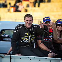 """Shane Weston (3301) and crew towing the Weston Racing """"Endangered Species"""" Top Alcohol Dragster back to the Perth Motorplex pits."""