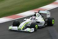 2009 Formula 1 Santander British Grand Prix at Silverstone in Northants, Great Britain. action from Friday practice on 19th June 2009. Jenson Button of Great Britain drives his Brawn GP car.