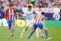 "Atletico de Madrid's player Antoine Griezmann and Juanfran Torres and Malaga CF Gonzalo ""Chory"" Castro during a match of La Liga Santander at Vicente Calderon Stadium in Madrid. October 29, Spain. 2016. (ALTERPHOTOS/BorjaB.Hojas)"