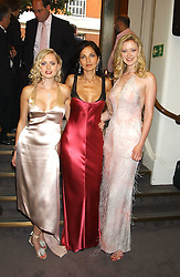 Left to right, ANOUSKA DE GEORGIOU, YASMIN MILLS and  SIOBHAN HEWLETT at a charity event 'In The Pink' a night of music and fashion in aid of the Breast Cancer Haven in association with fashion designer Catherine Walker held at the Cadogan Hall, Sloane Terrace, London on 20th June 2005.<br />