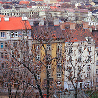 Europe, Czech Republic, Prague. Typical flats maintain traditional architectural style in Prague.