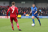 AFC Wimbledon defender Rod McDonald (26) taking on \a7 during the EFL Sky Bet League 1 match between AFC Wimbledon and Accrington Stanley at the Cherry Red Records Stadium, Kingston, England on 6 April 2019.