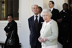Britain's Queen Elizabeth II and the Duke of Edinburgh bid farewell to South Africa's President Jacob Zuma, (not in picture), at Buckingham Palace in London on the last day of his State Visit.