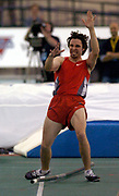 Toby Stevenson celebrates winning clearance of 5.80m in the men's pole vault in the USA Track & Field Indoor Championships at Reggie Lewis Track & Athletic Center at Roxbury Community College on Saturday, Feb. 28, 2004 in Roxbury Crossing, Mass.