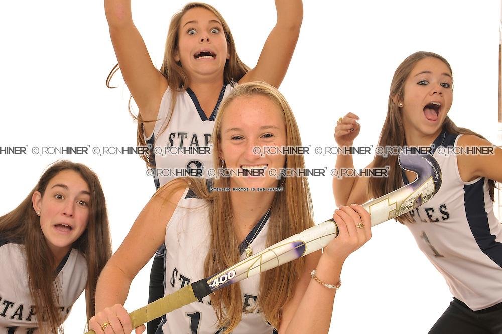 Staples High School Field Hockey..Senior portraits.Lucy Deflavio (SR).Blaney Rotanz (SR)(C).Callie Hiner (SR)(C).Caroline Kearney(SR)(C)