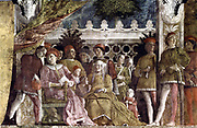 Andrea Mantegna (c. 1431 –  1506) Italian Renaissance painter. ' The Court of Mantua' 1471-74. Fresco Camera degli Sposi Ducal Palace, Mantua, Italy). At the left, Ludovico II Gonzaga.