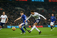 Dele Alli of Tottenham Hotspur has a shot at goal .<br /> Premier league match, Tottenham Hotspur v Everton at Wembley Stadium in London on Saturday 13th January 2018.<br /> pic by Kieran Clarke, Andrew Orchard sports photography.