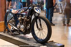Brittney Olsen's Born Free-6 1923 Harley-Davidson board track racer built by husband Matt shown on display on Saturday at the Handbuilt Motorcycle Show. Austin, TX. April 11, 2015.  Photography ©2015 Michael Lichter.