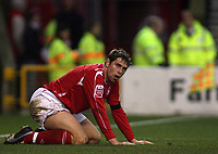 Photo: Paul Thomas.<br /> Nottingham Forest v Leyton Orient. Coca Cola League 1. 16/12/2006.<br /> <br /> Forest's Grant Holt can't believe his luck in missing a great chance to score.