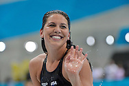 United States' Kathleen Hersey waves after heat in the Women's 200M Butterfly at the London 2012 Summer Olympics on July 31, 2012 in Stratford, London. Hersey's qualifying time of 2:06.41 led all swimmers in the event.  (UPI)