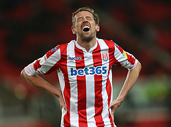 Stoke City's Peter Crouch looks in pain against Bristol City during the Sky Bet Championship match at the bet365 Stadium