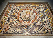 Roman mosaics - Gaia Mosaic. Euphrates Villa, Ancient Zeugama, 2nd - 3rd century AD . Zeugma Mosaic Museum, Gaziantep, Turkey. .<br /> <br /> If you prefer to buy from our ALAMY PHOTO LIBRARY  Collection visit : https://www.alamy.com/portfolio/paul-williams-funkystock/roman-mosaic.html - Type -   Zeugma   - into the LOWER SEARCH WITHIN GALLERY box. Refine search by adding background colour, place, museum etc<br /> <br /> Visit our ROMAN MOSAIC PHOTO COLLECTIONS for more photos to download  as wall art prints https://funkystock.photoshelter.com/gallery-collection/Roman-Mosaics-Art-Pictures-Images/C0000LcfNel7FpLI