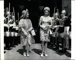 Jul. 07, 1973 - Princess Anne attends wedding of One-time escort.; The wedding took place today at the Guards Chapel, betwen Captain Andrew Parker-Bowles, one time escort of Princess Anne and Camilla Shand, 25 year old ex-debutante daughter of Major Bruce Shand. Princess Anne and Queen Elizabeth the Queen Mother, attended the wedding. Photo shows Princess Anne and Queen Elizabeth the Queen Mother seen leaving after attending the wedding today, passing through the guard of honours. (Credit Image: © Keystone Press Agency/Keystone USA via ZUMAPRESS.com)