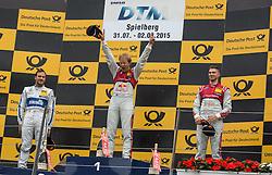 02.08.2015, Red Bull Ring, Spielberg, AUT, DTM Red Bull Ring, Rennen, im Bild 1. Mattias Ekstroem (SWE, Audi RS 5 DTM), 2. Gary Paffett (GBR, Mercedes-AMG C 63 DTM), 3. Edoardo Mortara (ITA, Audi RS 5 DTM) // during the DTM Championships 2015 at the Red Bull Ring in Spielberg, Austria, 2015/08/02, EXPA Pictures © 2015, PhotoCredit: EXPA/ Dominik Angerer