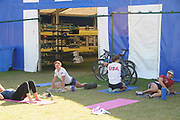 Henley, Great Britain.  Henley Royal Regatta. General View, GV, members of US Womens Eight, Princeton Training Center, stretch, after racing.River Thames Henley Reach.  Royal Regatta. River Thames Henley Reach.  Saturday  02/07/2011  [Mandatory Credit  Intersport Images]