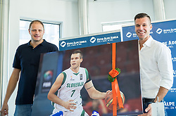 Raso Nesterovic and Sani Becirovic during press conference after Sani Becirovic, Slovenian Basketball player ended his a long and successful career and started as Coach Assistant in Panathinaikos, on July 22, 2015 in Ljubljana, Slovenia. Photo by Vid Ponikvar / Sportida