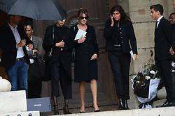 Carla Bruni Sarkozy and Farida Khelfa leaving the funeral service for late photographer Peter Lindbergh held at Saint Sulpice church in Paris, France on September 24, 2019. Photo by ABACAPRESS.COM