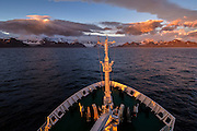 Sailing into Royal Bay at sunrise, Royal Bay, South Georgia, South Atlantic Ocean