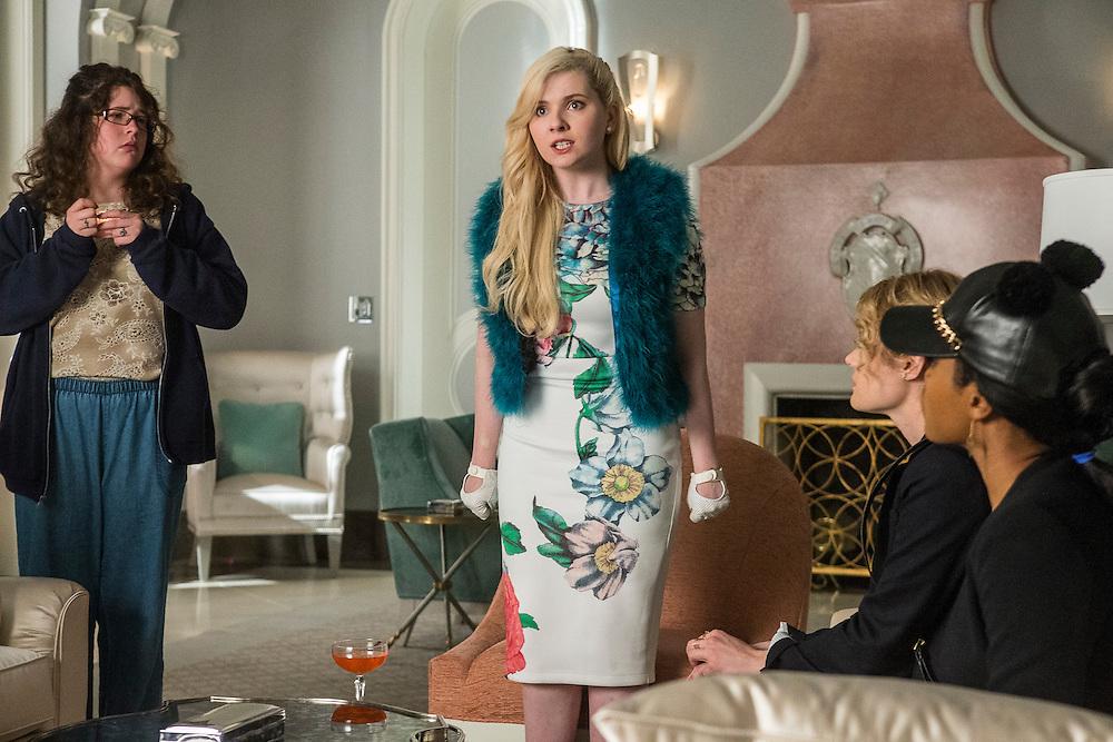 From left: Breezy Eslin as Jennifer, Abigail Breslin as Chanel No. 5, Skyler Samuels as Grace, and Keke Palmer as Zayday in Scream Queens, Season 1