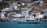Town view and boats in the Bay of Chora, Mykonos, Greece