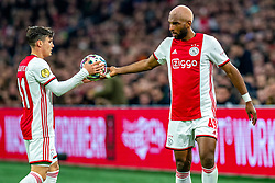 Nicolas Tagliafico #31 of Ajax and Ryan Babel #49 of Ajax during the match between Ajax and PSV at Johan Cruyff Arena on February 02, 2020 in Amsterdam, Netherlands