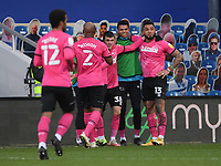 Football - 2020 / 20-21 Sky Bet Championship - Queens Park Rangers vs Derby County - Kiyan Prince Foundation Stadium<br /> <br /> Colin Kazim-Richards of Derby County (right) celebrates scoring the opening goal.<br /> <br /> COLORSPORT