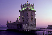 PORTUGAL, LISBON, BELEM, Torre de Belem, Manueline castle on harbor