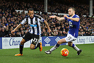 Andros Townsend of Newcastle United looks to go past Tom Cleverley of Everton. Barclays Premier League match, Everton v Newcastle United at Goodison Park in Liverpool on Wednesday 3rd February 2016.<br /> pic by Chris Stading, Andrew Orchard sports photography.