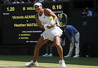 Tennis - 2017 Wimbledon Championships - Week One, Friday [Day Five]<br /> <br /> Womens Singles Third Round match<br /> Heather Watson (GBR) v Victoria Azarenka (BLR) <br /> <br /> Heather Watson on Centre court <br /> <br /> COLORSPORT/ANDREW COWIE