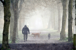 © Licensed to London News Pictures.17/03/2018<br /> SIDCUP, UK.<br /> Early morning dog walkers enjoying the March snow at Foots Cray Meadows in Sidcup, Kent.<br /> Photo credit: Grant Falvey/LNP