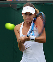 Tennis - 2019 Wimbledon Championships - Week One, Saturday (Day Six)<br /> <br /> Womens singles, 4th Round <br /> Magda Linette (POL) v Petra Kvitova (CZE)<br /> <br /> Magda Linette on  Court 2<br /> <br /> COLORSPORT/ANDREW COWIE