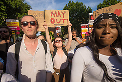 London, June 21st 2017. Protesters march through London from Sheherd's Bush Green in what the organisers call 'A Day Of Rage' in the wake of the Grenfell Tower fire disaster. The march is organised by the Movement for Justice By Any Means Necessary and coincides with the Queen's Speech at Parliament, the destination. PICTURED: A few dozen remaining protesters demonstrate outside Downing Street calling for Prime Minister Theresa May to go.