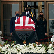 President Trump and first lady Melania Trump pays their respects as the late Justice Ruth Bader Ginsburg lies in honor at the Supreme Court on Thursday, September 24, 2020.. Ginsburg died at the age of 87 on Sept. 18th and is the first women to lie in state at the Capitol.