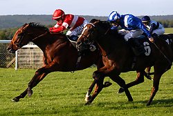 Bon Scotte ridden by Hollie Doyle gets the better of Kitaabaat ridden by Dane O' Neill to win The EBF Maiden Stakes Race run at Goodwood Racecourse, Chicester.