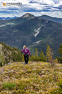 Hiking on ridgeline of Review Mountain in the Flathead National Forest, Montana, USA MR