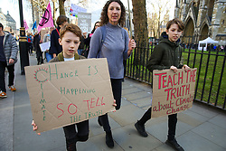 © Licensed to London News Pictures. 22/02/2019. London, UK. Young people, teachers and parents march from Houses of Parliament to Department for Education to demand that the climate and ecological crisis is acknowledged as an educational priority and that students are taught the truth about the world they are inheriting. Photo credit: Dinendra Haria/LNP
