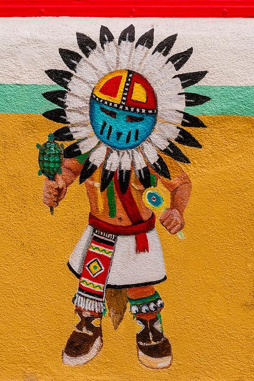 A Native American mural, Old Town Plaza, Albuquerque, New Mexico USA