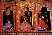 Deskit Gompa, Nubra Valley, Ladakh, India.<br />Buddhist statues displaying Mudra hand gestures