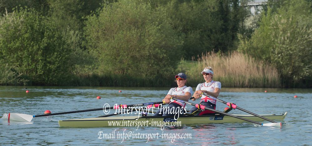 Caversham. Reading. GBR W2X, Bow Vicky THORNLEY and katherine GRAINGER. GBRowing  European Team Announcement, GB Training Base Reading. 13.05.2015. Wednesday. [Mandatory Credit: Peter Spurrier/Intersport-images.com