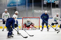 "Ziga Pavlin, Zan Us and Jurij Repe during practice session of Slovenian Ice Hockey National team before ""Beat Covid-19 Ice Hockey Tournament"", on May 12, 2021 in Hala Tivoli, Ljubljana, Slovenia. Photo by Vid Ponikvar / Sportida"