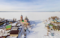 Aerial view of Pereslavl-Zalessky, Golden Ring of Russia covered with snow.